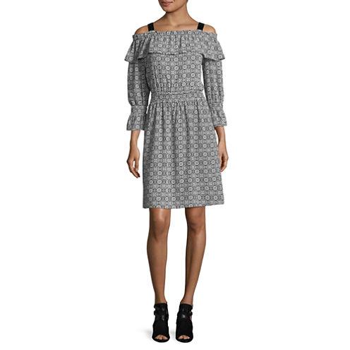 Libby Edelman Long Sleeve Smock Waist Dress