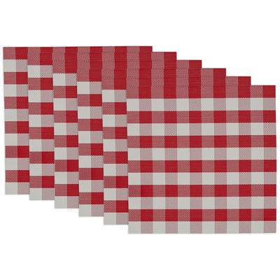 Design Imports Red and White Checkers Set of 6 Placemats
