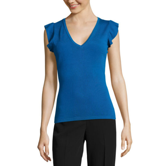 Worthington V- Neck Ruffle Sleeve Top
