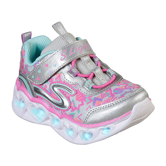 Skechers Heart Lights Hook and Loop Sneakers Toddler Girls