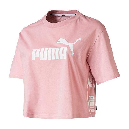 Puma Womens Crew Neck Short Sleeve Crop Top