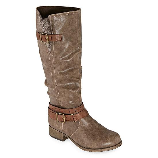Pop Womens Maia Slouch Boots Block Heel