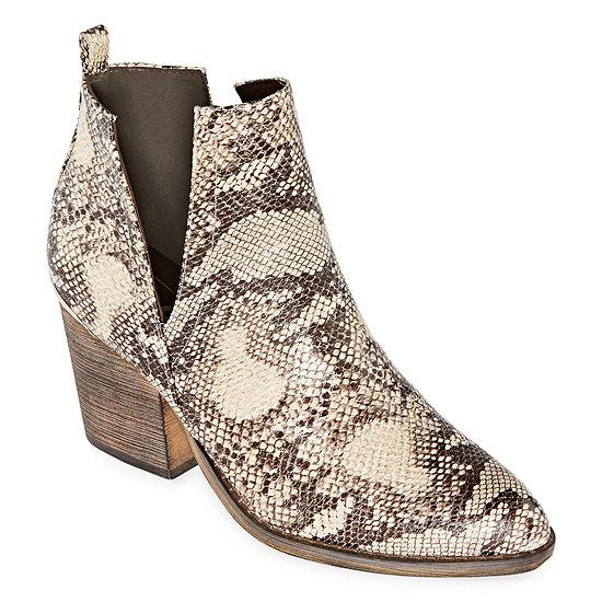 Pop Womens Chantilly Block Heel Booties