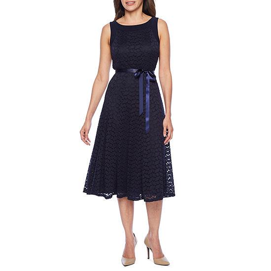 Perceptions Sleeveless Geo Lace Fit & Flare Dress