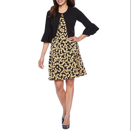 Perceptions 3/4 Bell Sleeve Jacket Dress-Petite