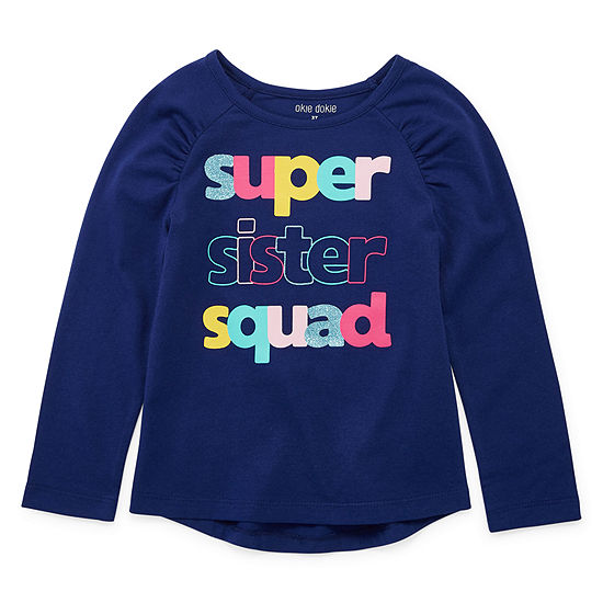 Okie Dokie Girls Round Neck Long Sleeve T-Shirt-Toddler