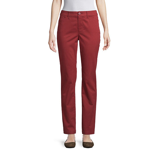 St. John's Bay Secretly Slender Womens Straight Flat Front Pant
