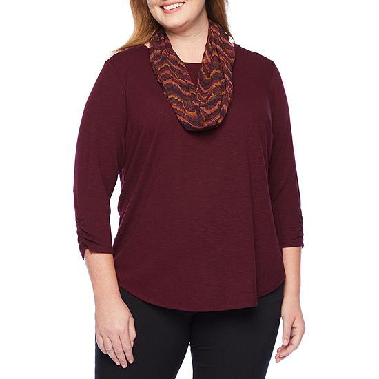 Alyx 3/4 Cinch Sleeve Scarf Knit Top - Plus