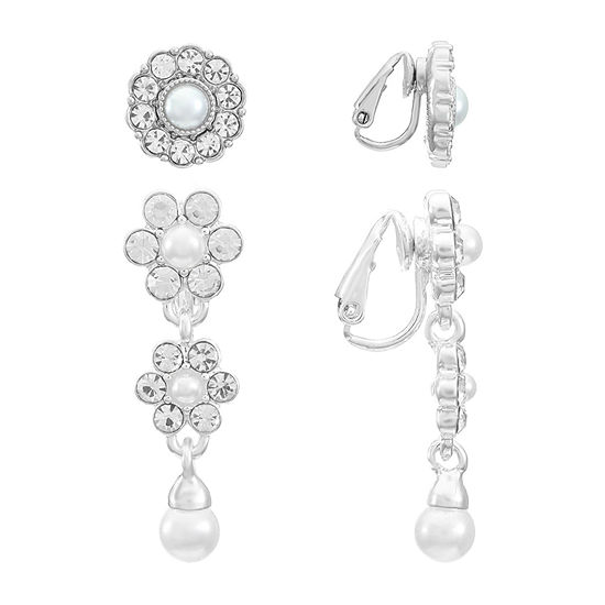 Monet Jewelry Simulated Pearl 2 Pair Earring Set