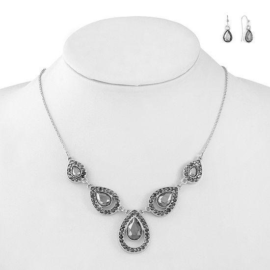 Liz Claiborne Gray Silver Tone Pear 2-pc. Jewelry Set