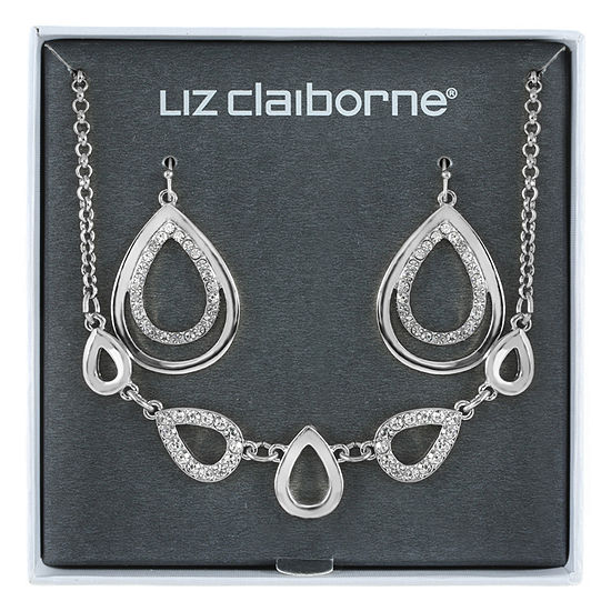 Liz Claiborne Silver Tone Pear 2-pc. Jewelry Set
