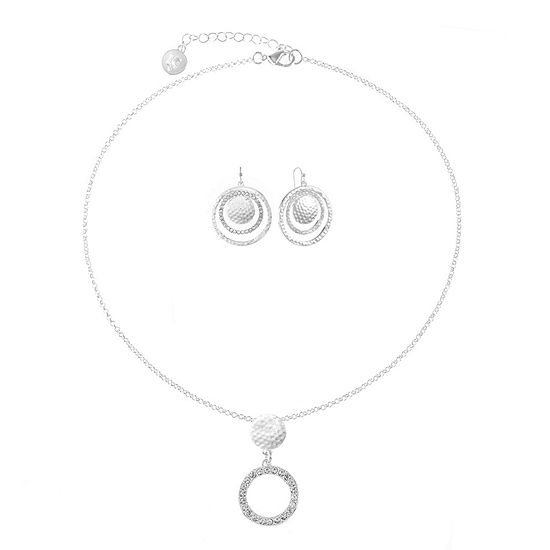 Liz Claiborne Silver Tone Round 2-pc. Jewelry Set