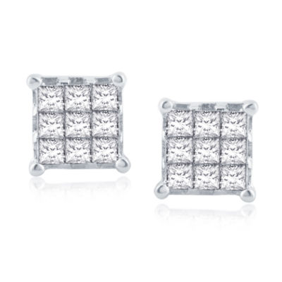 3/4 CT. T.W. Genuine White Diamond 10K Gold 7.2mm Stud Earrings
