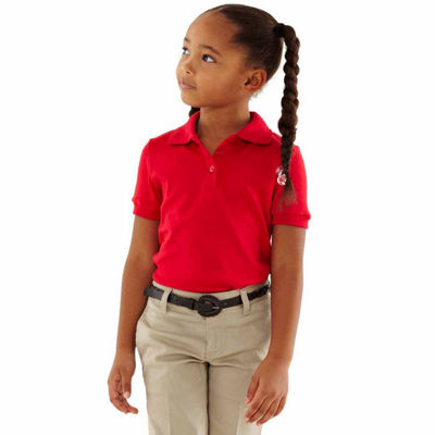 French Toast Short Sleeve Interlock Polo With Picot Collar - Big Kid Girls Plus