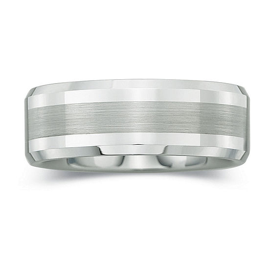 Mens 8mm Comfort Fit Satin Center Ring in Tungsten
