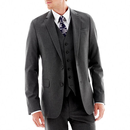 JF J. Ferrar Stretch Gabardine Suit Jacket - Classic Fit, 38 Short, Black
