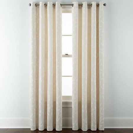 Liz Claiborne Quinn Leaf Energy Saving Light-Filtering Grommet-Top Single Curtain Panel, One Size , White
