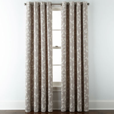 Liz Claiborne Quinn Leaf Energy Saving Room Darkening Grommet-Top Single Curtain Panel