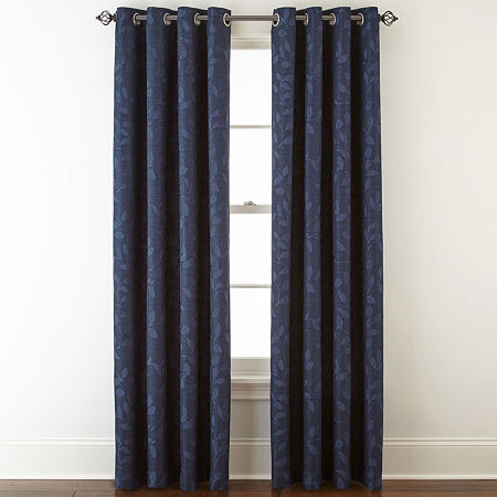 Liz Claiborne Quinn Leaf Energy Saving Light-Filtering Grommet-Top Single Curtain Panel, One Size , Blue