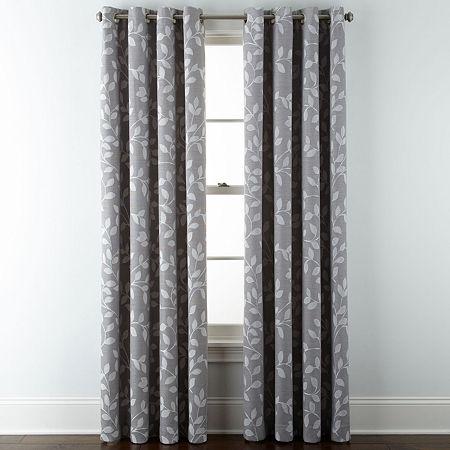 Liz Claiborne Quinn Leaf Energy Saving Light-Filtering Grommet-Top Single Curtain Panel, One Size , Gray
