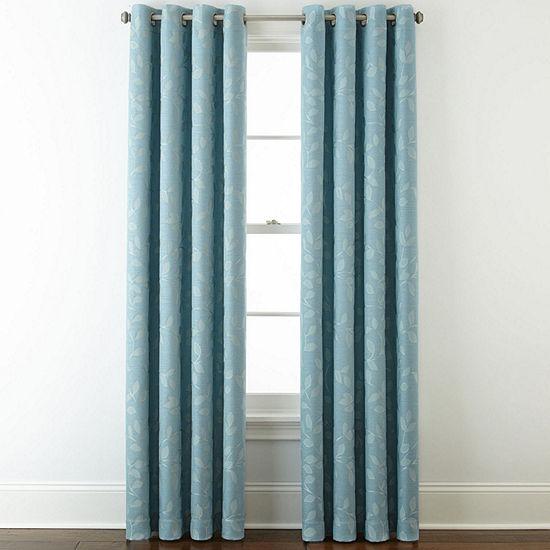 Liz Claiborne Quinn Leaf Energy Saving Light-Filtering Grommet-Top Single Curtain Panel