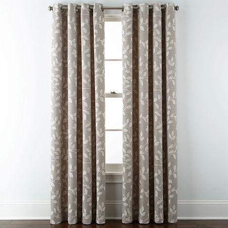Liz Claiborne Quinn Leaf Energy Saving Light-Filtering Grommet-Top Single Curtain Panel, One Size , Beige