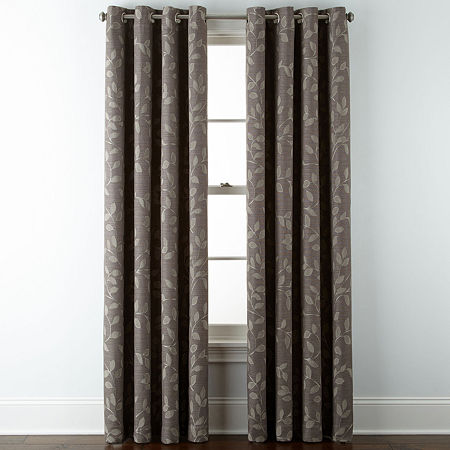 Liz Claiborne Quinn Leaf Energy Saving Light-Filtering Grommet-Top Single Curtain Panel, One Size , Brown