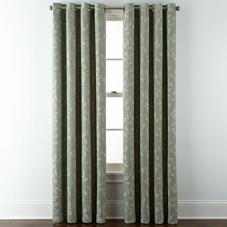 Liz Claiborne Quinn Leaf Energy Saving Light-Filtering Grommet-Top Single Curtain Panel, One Size , Green