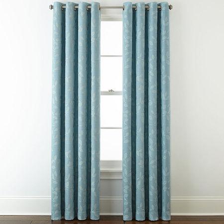 Liz Claiborne Quinn Leaf Energy Saving Light-Filtering Grommet-Top Single Curtain Panel, One Size , Blue