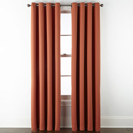 JCPenney Home Wallace Blackout Grommet-Top Single Curtain Panel, One Size , Orange