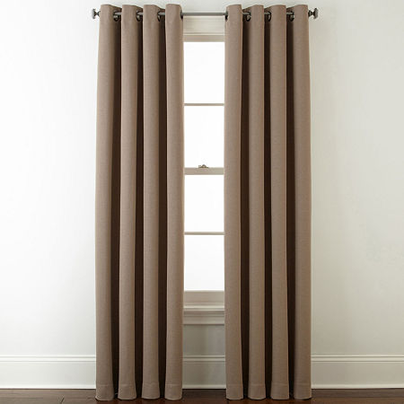 JCPenney Home Wallace Blackout Grommet-Top Single Curtain Panel, One Size , Brown