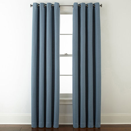 JCPenney Home Wallace Blackout Grommet-Top Single Curtain Panel, One Size , Blue