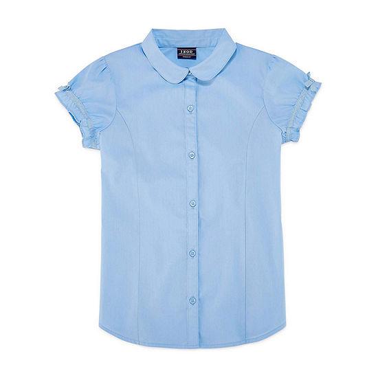 Izod Exclusive Girls Short Sleeve Button-Front Shirt