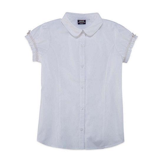 Izod Exclusive Short Sleeve Button-Front Shirt Girls
