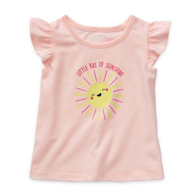 Okie Dokie Baby Girls Round Neck Short Sleeve Graphic T-Shirt