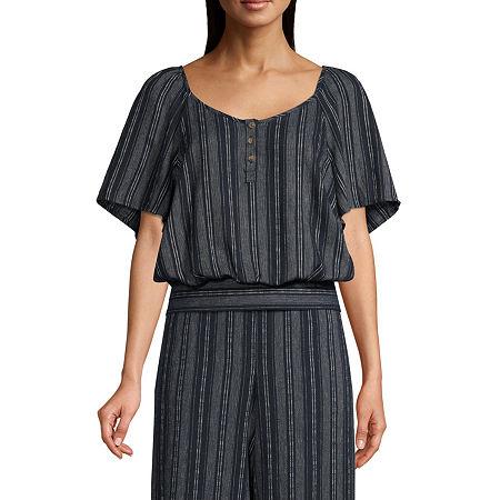 a.n.a Womens U Neck Short Sleeve Dobby Blouse, Medium , Blue