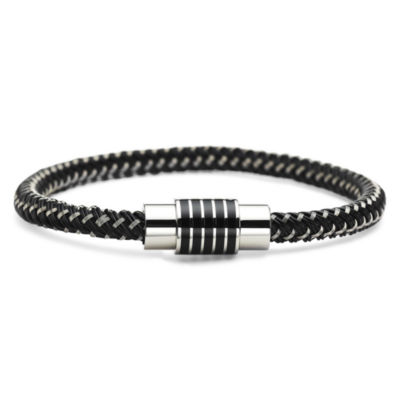 Mens Rubber & Stainless Steel Bracelet
