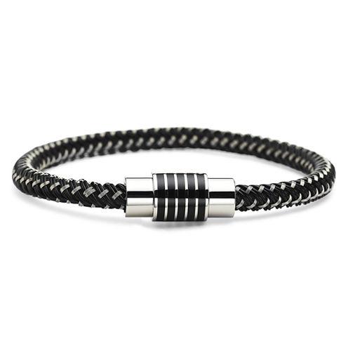 Mens Rubber & Stainless Steel Bracelet