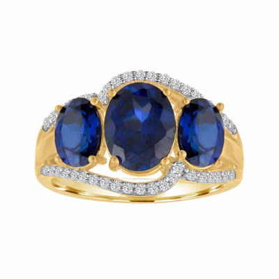 Lab-Created Blue And White Sapphire 14k Gold Over Silver Ring