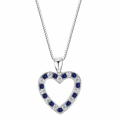 Lab-Created Blue Sapphire Sterling Silver Heart Pendant Necklace