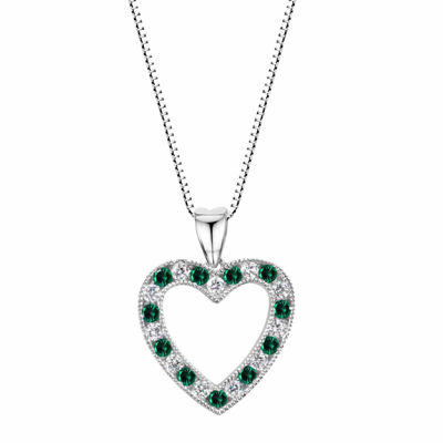 Lab-Created Emerald Sterling Silver Heart Pendant Necklace