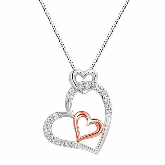Lab Created White Sapphire Sterling Silver And 14k Rose Gold Over Silver Heart Pendant Necklace