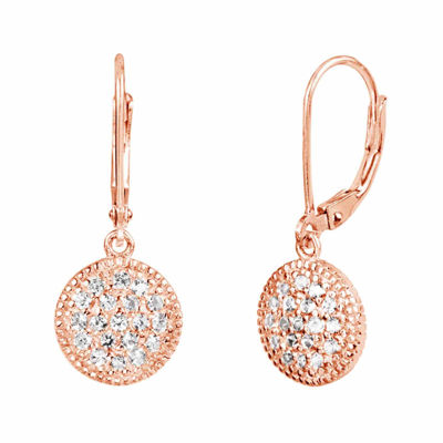 Lab-Created White Sapphire Sterling Silver 14k Rose Gold Plated Leverback Earrings
