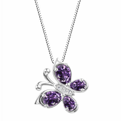 Genuine Amethyst Sterling Silver Butterly Pendant Necklace