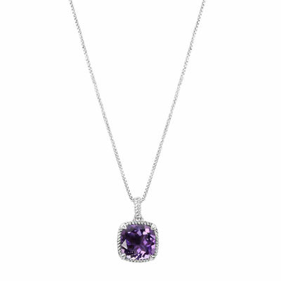 Genuine Amethyst Sterling Silver Cushion Pendant Necklace