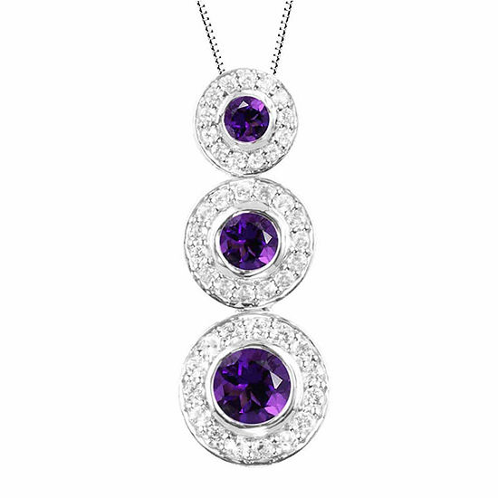 Genuine Amethyst And Lab-Created White Sapphire Sterling Silver Graduating Circles Pendant Necklace