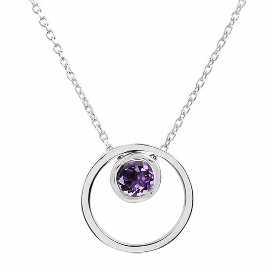 Amethyst Sterling Silver Double Circle Pendant Necklace