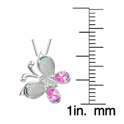Lab-Created Opal And Lab-Created Pink Sapphire Sterling Silver Butterly Pendan