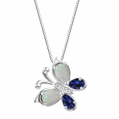 Lab-Created Opal And Lab-Created Blue Sapphire Sterling Silver Butterly Pendant Necklace