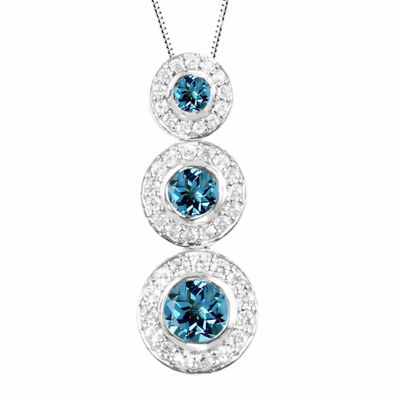 Genuine Blue Topaz And Lab-Created White Sapphire Sterling Silver Graduating Circles Pendant Necklace